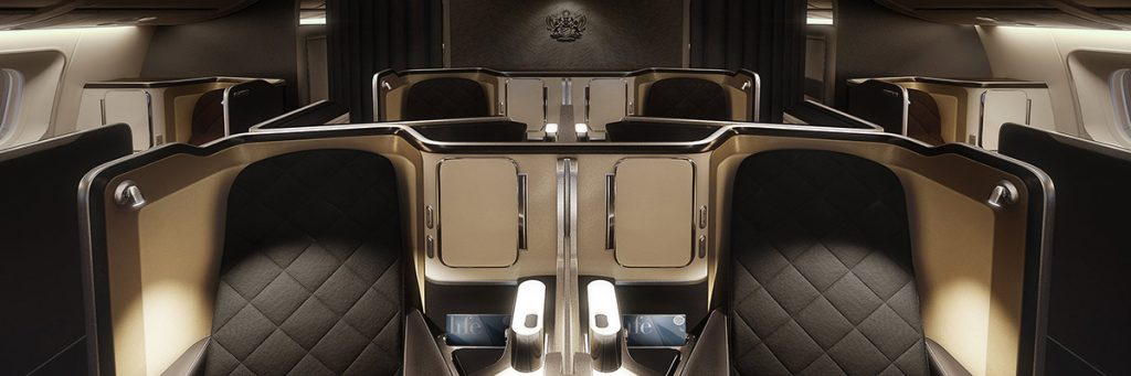 This image shows the British Airways First Class cabin.