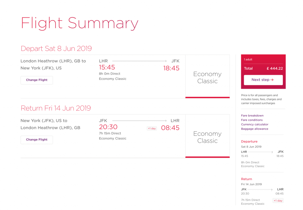 This image shows a sample booking with a Saturday night stay included, costing £444.22.
