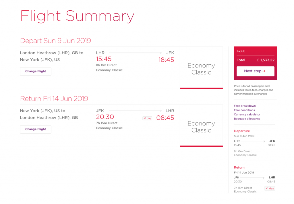 This image shows a sample booking without a Saturday night stay included, costing £1533.22.