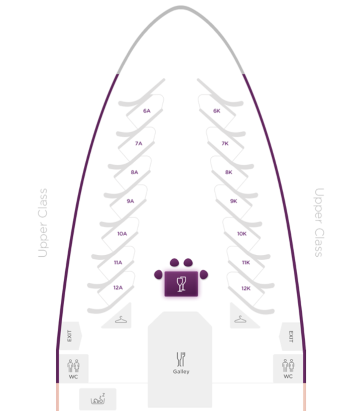 Virgin Atlantic 747 Upper Class seating plan