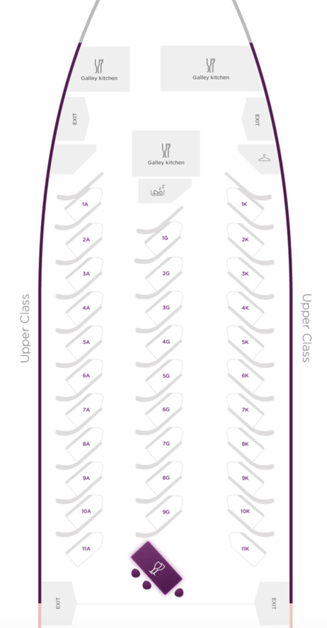 Virgin Atlantic 787 Upper Class Cabin Seat Map