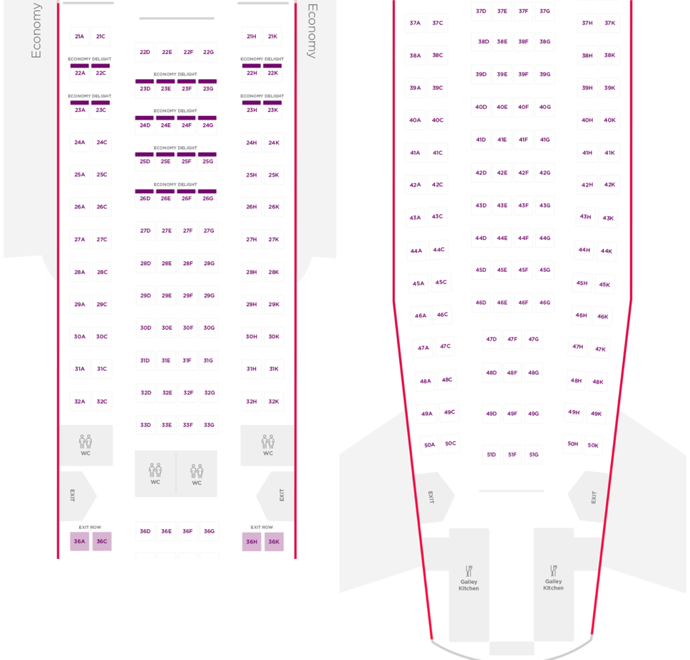 Virgin Atlantic A330-200 Economy Cabin Layout