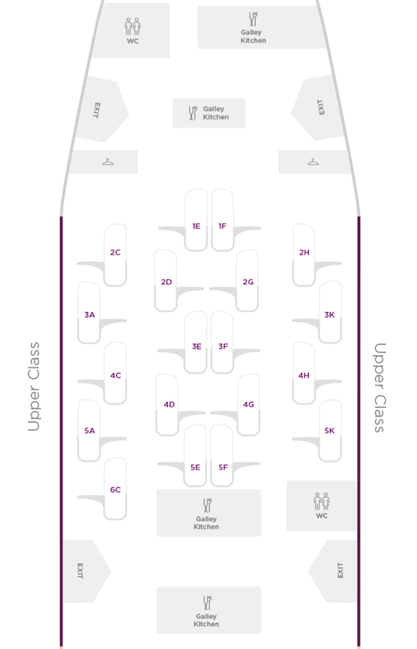 Virgin Atlantic A330-200 Upper Class Cabin Layout