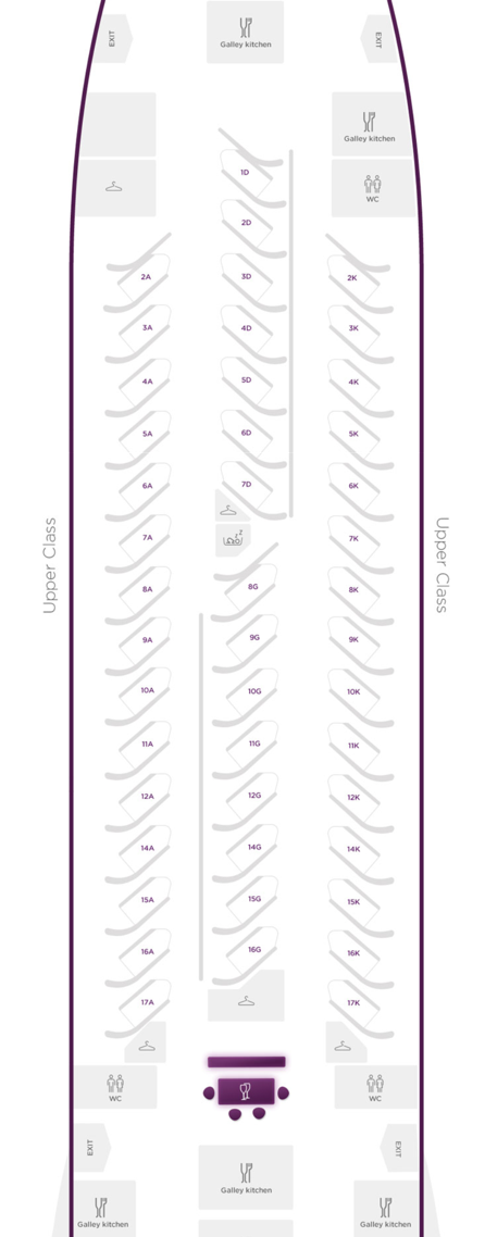 Virgin Atlantic A340 Upper Class Cabin Layout