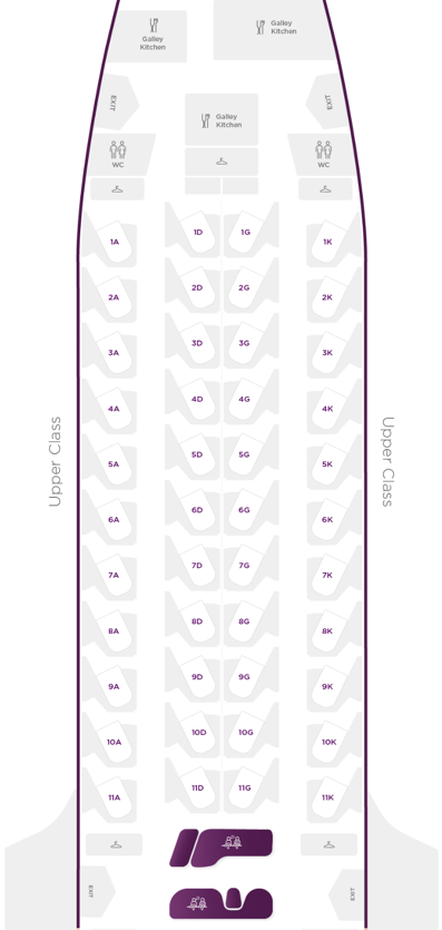 Virgin Atlantic A350 Upper Class Cabin Layout