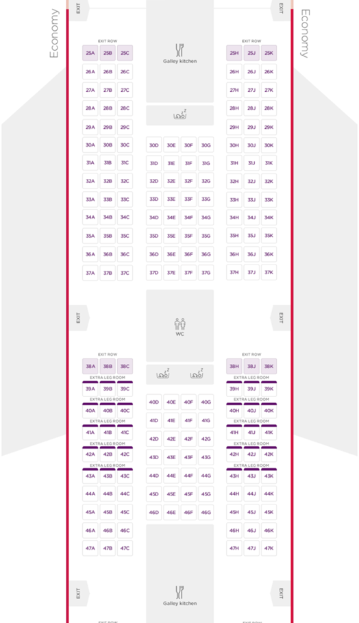 Virgin Atlantic 747-400 Economy Cabin Layout