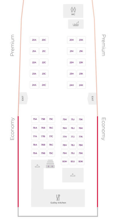 Virgin Atlantic 747 Premium Layout - Upper Deck