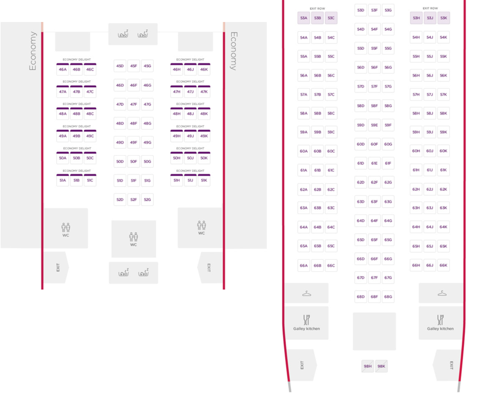 Virgin Atlantic 787 Economy Cabin Layout
