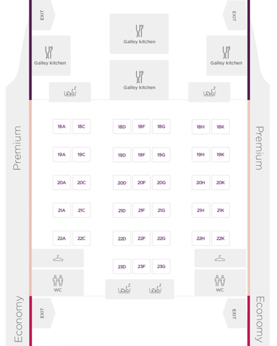 Virgin Atlantic A340 Premium Layout